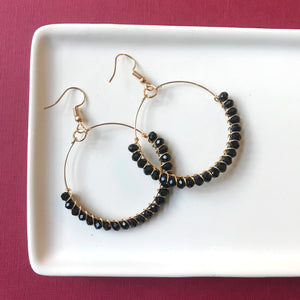 Black Beaded Hoop Earring - Styled Simplicity