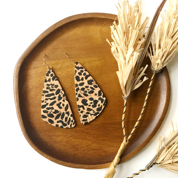 Spotted Cheetah Cork Leather Earrings - Styled Simplicity