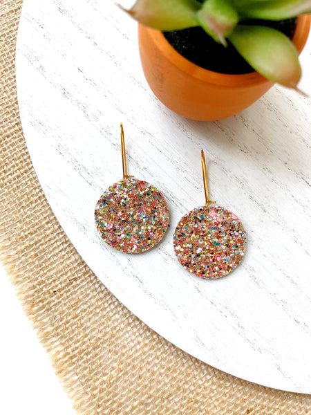 Pink Confetti Glitter Leather Earrings - Styled Simplicity