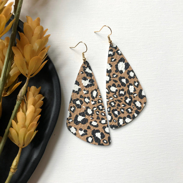 Brown Leopard Leather Earrings - Styled Simplicity
