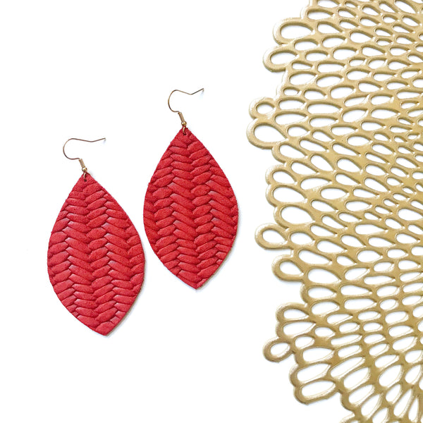 Braided Red Leather Earrings - Styled Simplicity
