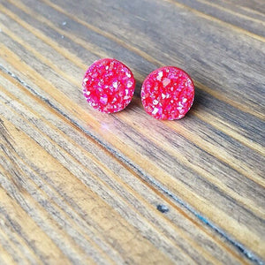 Red Confetti Druzy Earrings - Styled Simplicity