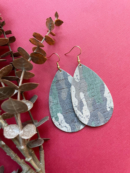 Classic Camo Cork Leather Earrings - Styled Simplicity