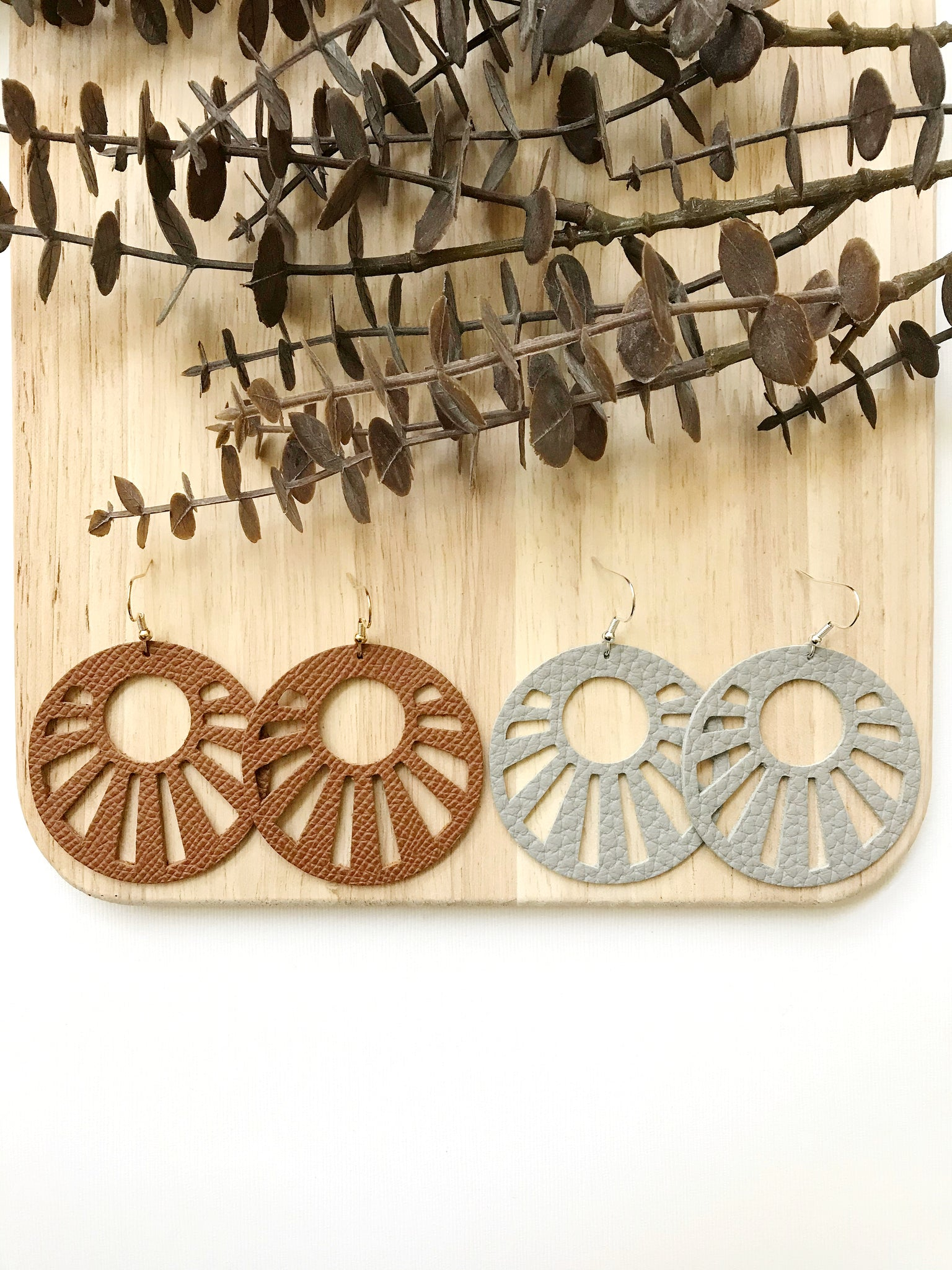 Sunburst Duo Pair Leather Earrings - Styled Simplicity