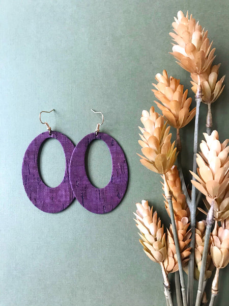 Plum Cork Leather Earrings - Styled Simplicity