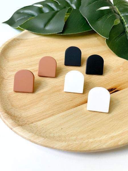Black Acrylic Post Earrings - Styled Simplicity