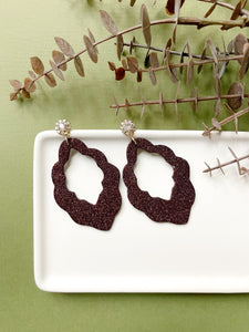 Burgundy Sparkle Leather Earrings - Styled Simplicity