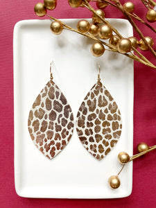 Rose Gold Cheetah Leather Earrings - Styled Simplicity