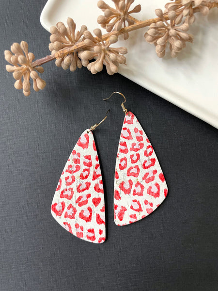 Red Cheetah Leather Earrings - Styled Simplicity