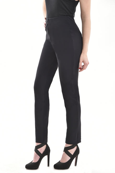 black trousers designed for the office shown here from the side showing just a ladies legs with black high healed shoes.