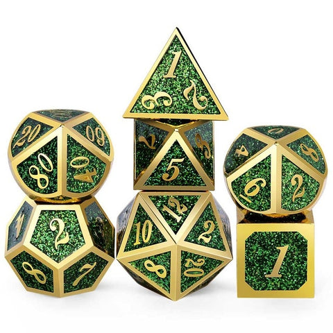 Glitter Metal Dice Set - Tabletop RPG Dice set - Dungeoneers Den
