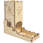 Castle Dice Tower with Tray - Laser Engraved Wood - Dungeoneers Den