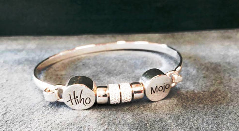 Hi Ho Silver Mojo Hallmarked 9:25 silver with crystal beads Clasp for easy fitting with Logo
