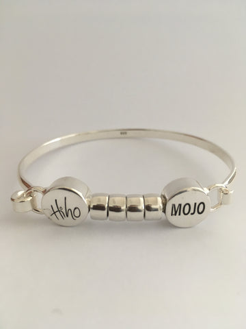 Hi Ho Silver Mojo Large Hallmarked 9:25 silver with Plain Beads Clasp for easy fitting with Logo