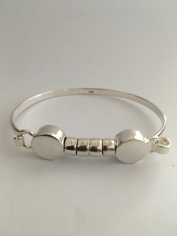 Hi Ho Silver Mojo Large Hallmarked 9:25 silver with Plain Beads Clasp for easy fitting