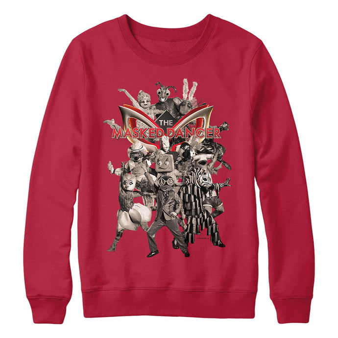 The Masked Dancer Multi-Character Red Crewneck