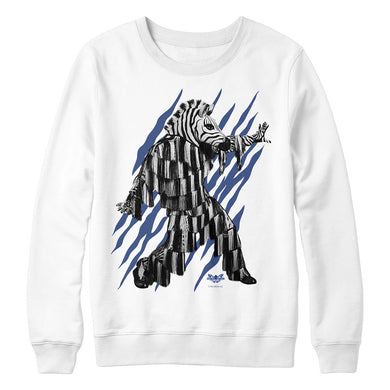 The Masked Dancer Zebra White Crewneck