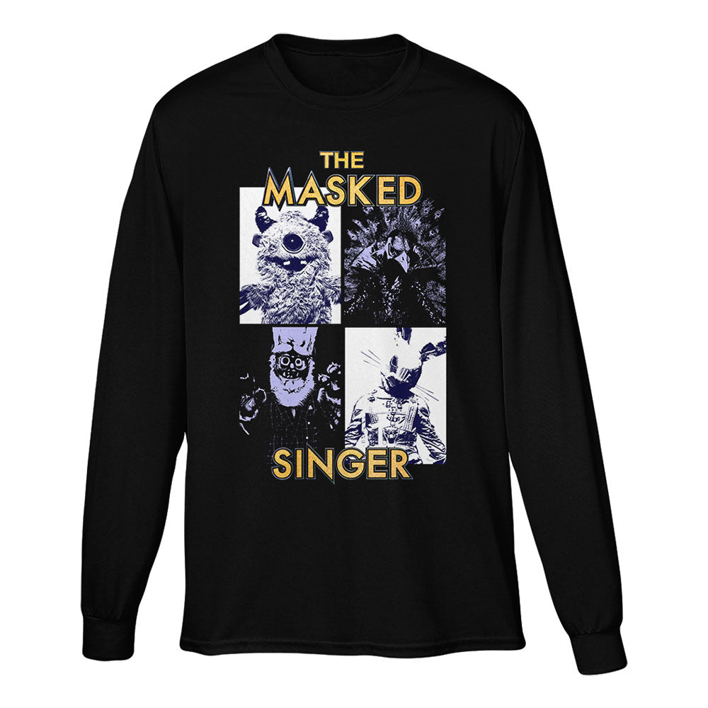 The Masked Singer Collage Long Sleeve Black Tee