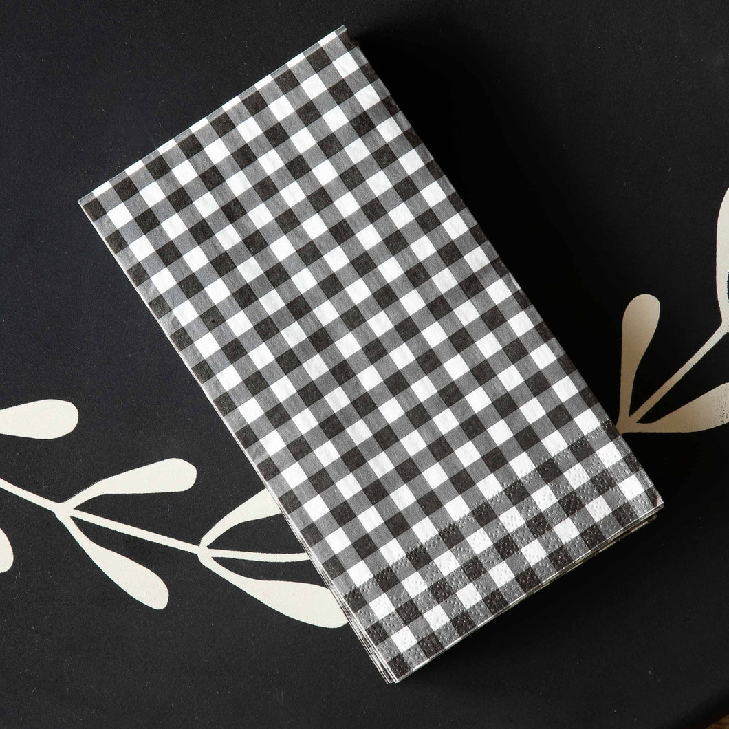 Black & White Gingham Check Dinner Paper Napkins/Guest Towels