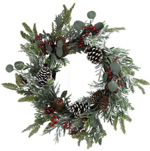 Frosted Berry Pinecone Wreath