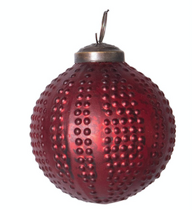 "3"" Embossed Red Glass Ornament"