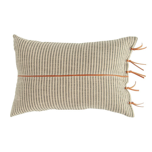 Grey Striped Pillow with Leather Tassels