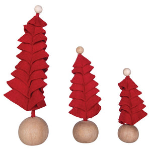 Small Red wool felt Christmas tree
