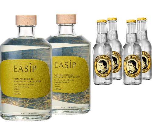 alkoholfreie Drinks EASIP Fields Flaschen und Thomas Henry Tonic Water