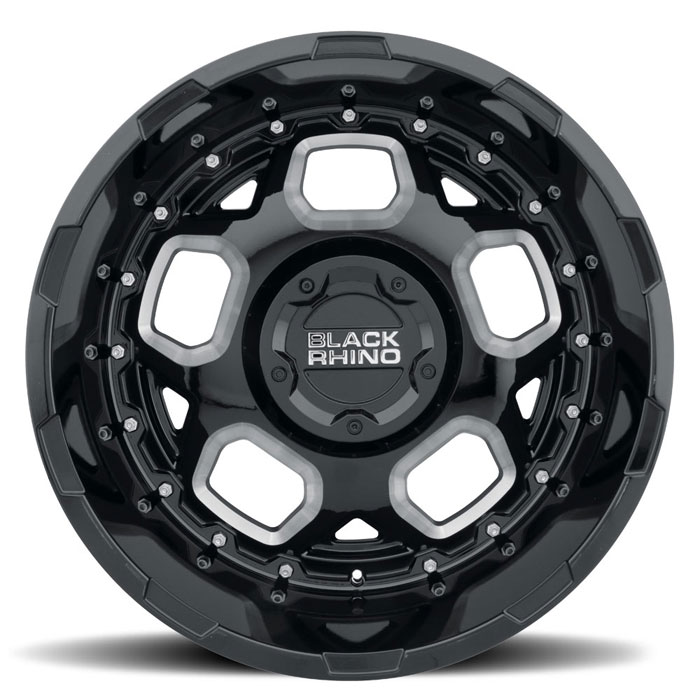 Black Rhino® • 1795GUS066135B87 • Gusset • Gloss Black with Milled Spokes • 17x9.5 6x135 ET6 CB87.1