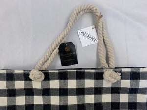 New Checkered Tote with Rope Handles