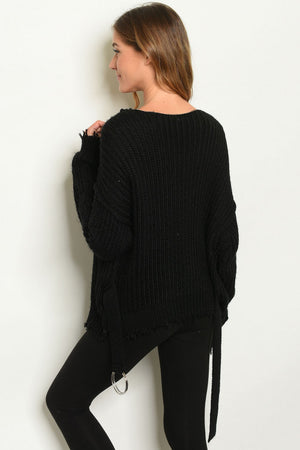 Skylar + Madison Distressed Black Sweater