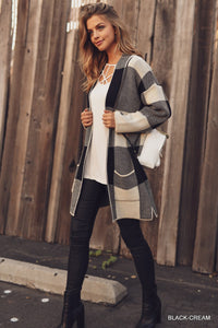 Checkered Thick Knit Cardigan