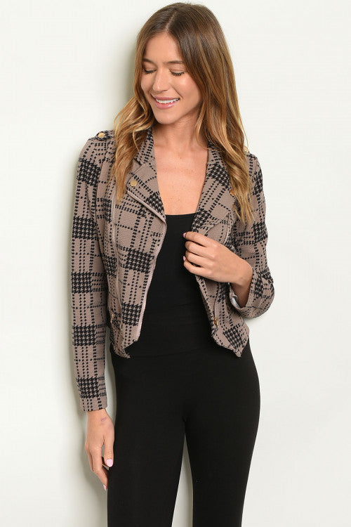 Mine Mocha & Black Checkered Jacket