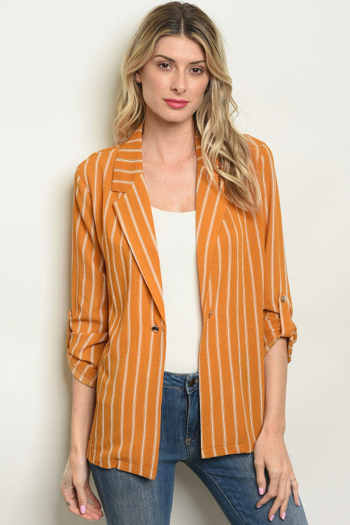 Mustard Striped Blazer