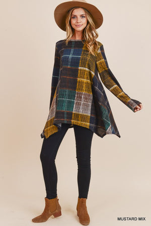 Long Sleeve Plaid Asymmetric Hem Top