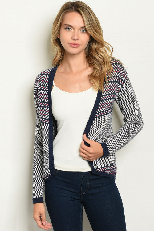 Navy Fun Patterned Sweater