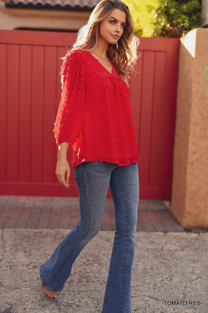 Red Chiffon Swiss Dot Pattern 3/4 Bubble Sleeve Top