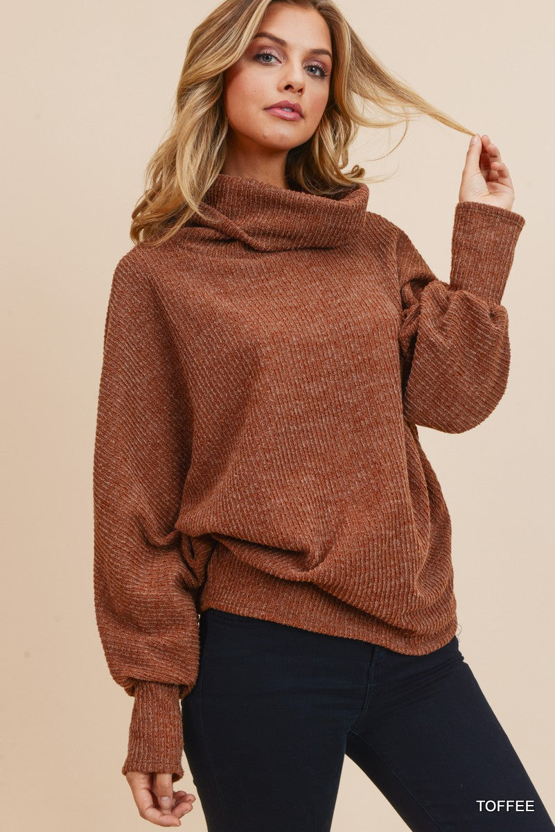 Ribbed Knit Cowl Neck Toffee Sweater