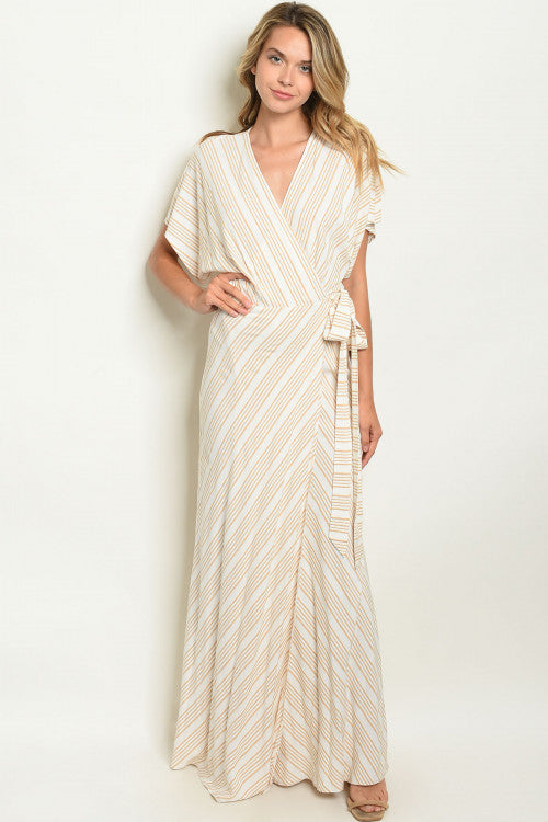 Taupe Striped Women's Wrap Dress