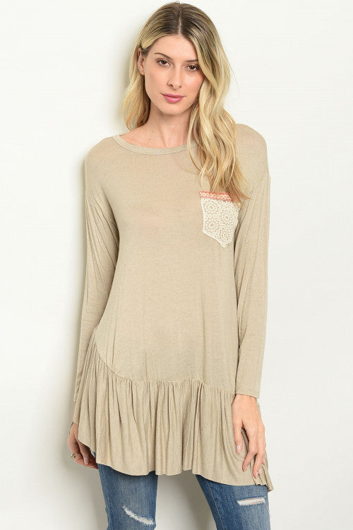 Taupe Long-sleeve Babydoll Top with Pocket