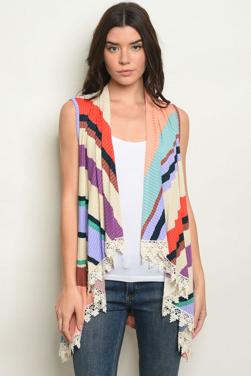 Sleeveless Multi-Striped Vest