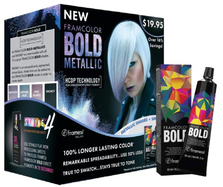 Framcolor BOLD METALLIC Prepack- 2oz/60ml tubes of the following shades:..(1)Amethyst: (2) Sapphire Blue: (1) Pink Quartz: (1) Smokey. 5 tubes total