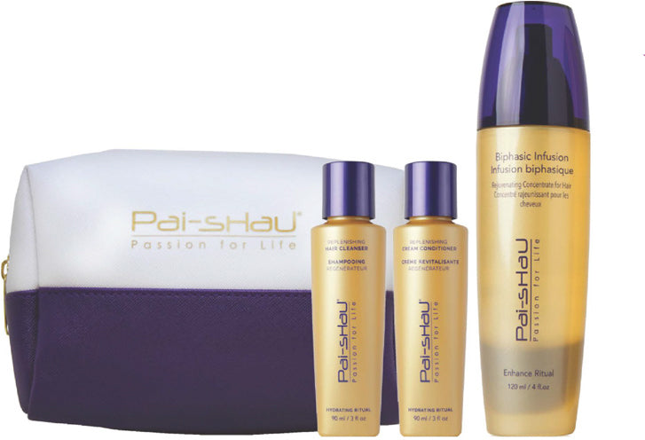 Hydrate includes:..1 REPLENISHING CLEANSER 90ml ..1 REPLENISHING CONDITIONER 90 ml ..1 White and Purple Bag..1 Biphasic Infusion 30 ml
