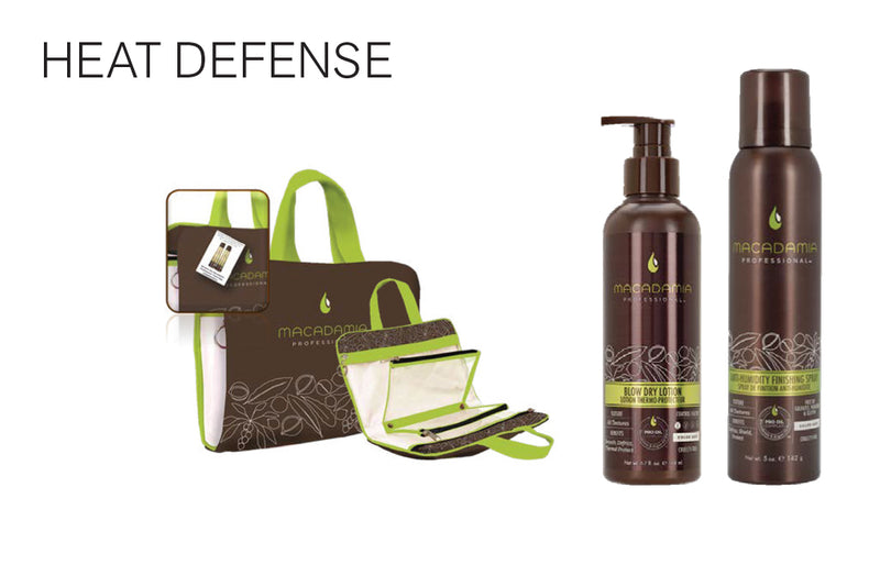 Heat Defense..Purchase two Macadamia Professional Products: get a complimentary travel bag...Style Extend Dry Shampoo 5oz/142g..Blow Dry Lotion 6.7oz/198ml
