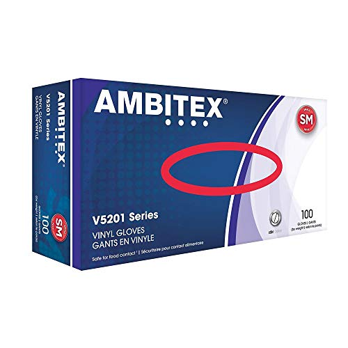 Ambitex V5201 Vinyl Gloves, Small, Clear, Box of 100