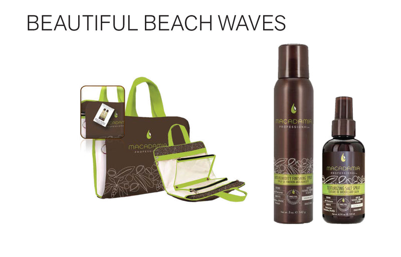 Beautiful Beach Waves..Purchase two Macadamia Professional Products: get a complimentary travel bag..Texturizing Salt Spray 4.2oz/125ml..Anti-Humidity Spray 5oz/142g