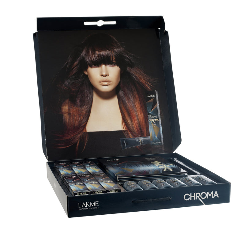 Chroma Samples Kit-  (6) Chroma Haircolor 2.1 fl oz/ 60ml;  Samples( 7/66: 6/50: 8/17: 7/00: 9/20: 4/00);   18V 5.4% Chroma Developers 6 x 2.1 fl.oz/ 60ml ea.   : swatchbook: literature: window cling