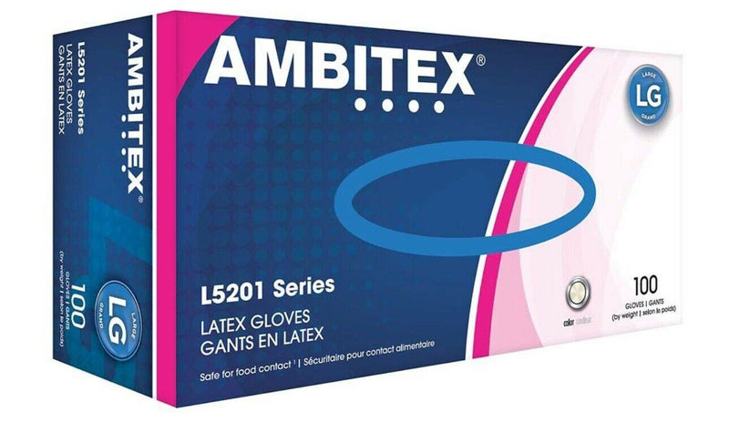Ambitex L5201 Latex Gloves, Clear, Large, Box of 100