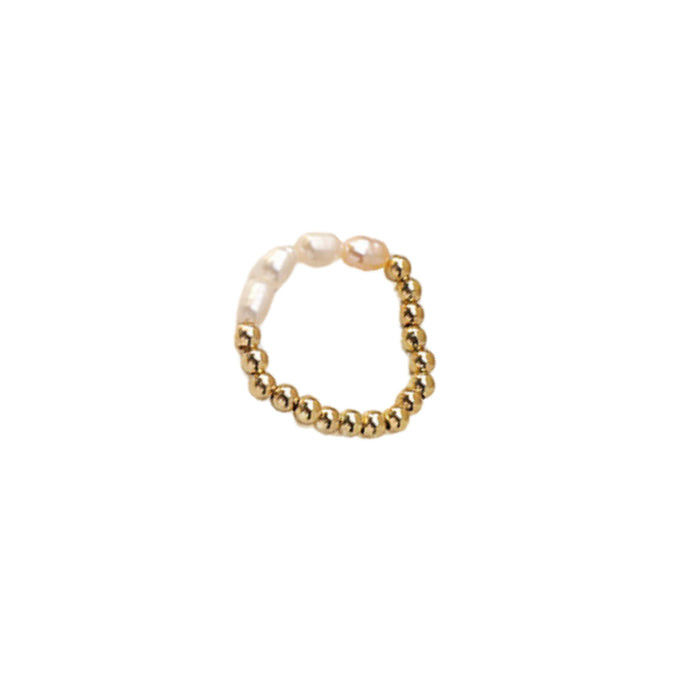 Mira Gold Pearl Beaded Ring