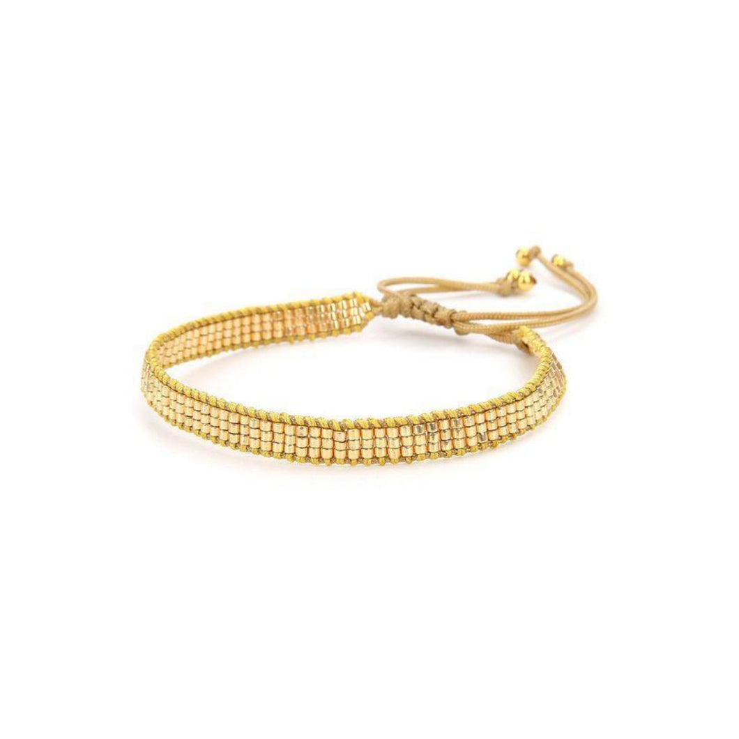 Camila Gold Hand-Woven Seed Bracelet